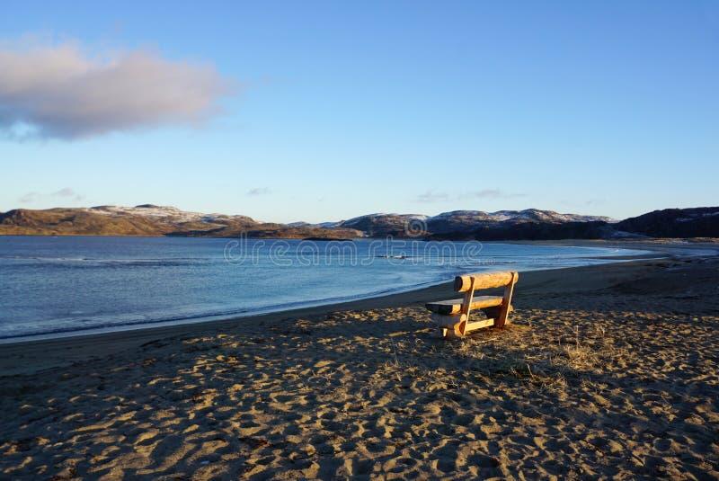 巴伦支海的美好的风景北极海岸的在Te 免版税库存图片
