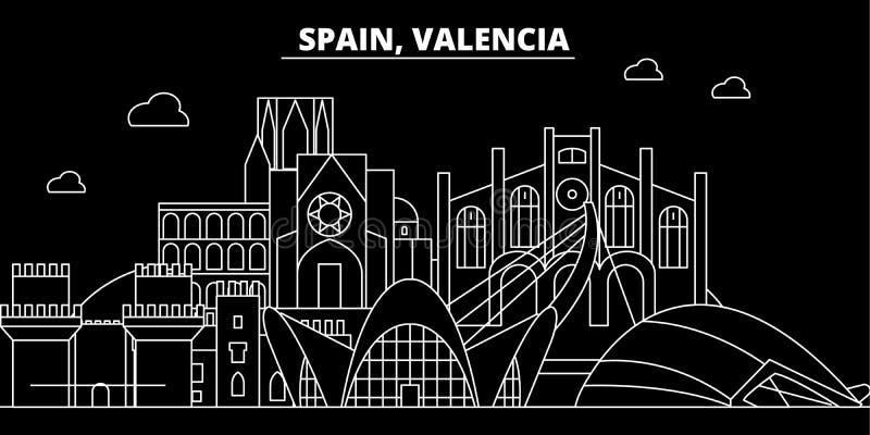 巴伦西亚剪影地平线 西班牙-巴伦西亚传染媒介城市,西班牙线性建筑学,大厦 巴伦西亚旅行 向量例证