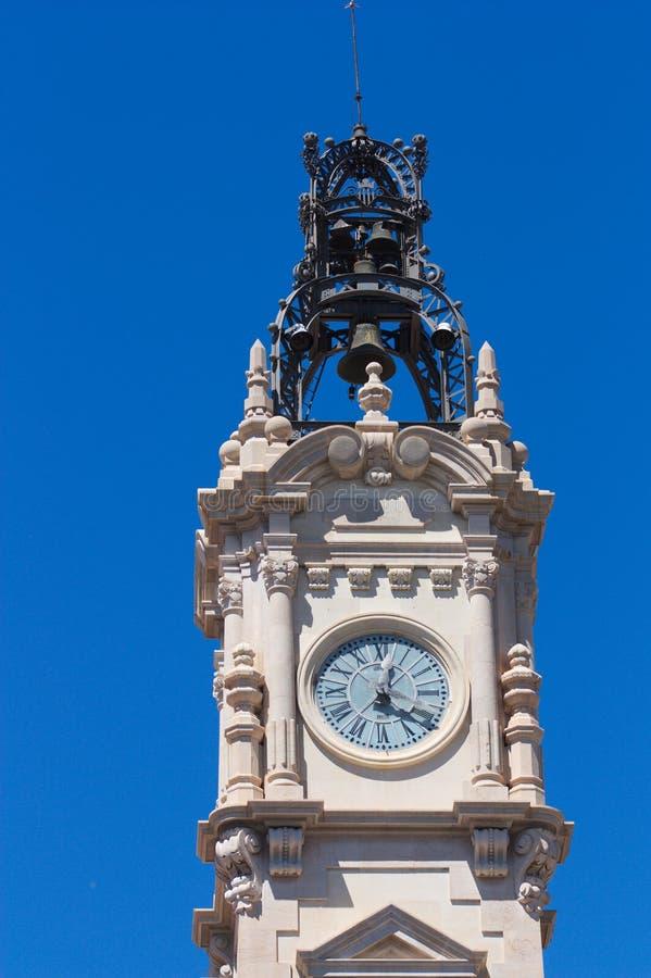 巴伦西亚政府大厦大厦的钟楼的细节 r 免版税库存图片