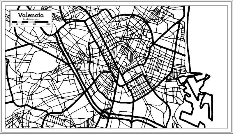 巴伦西亚西班牙在减速火箭的样式的市地图 黑白向量例证 向量例证