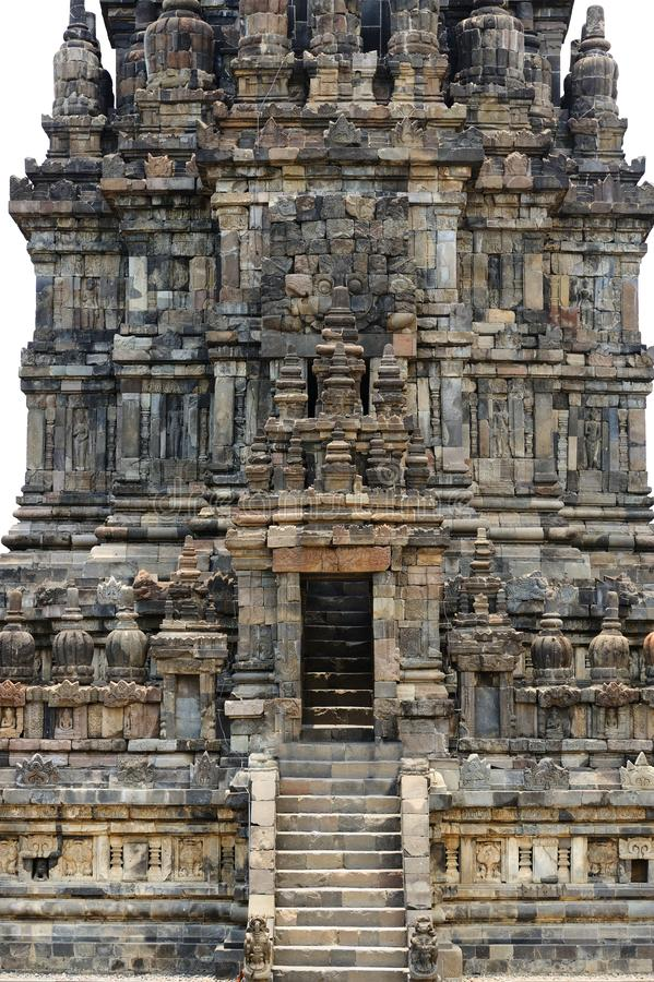 巴兰班南寺庙细节在Java海岛,印度尼西亚 免版税库存图片