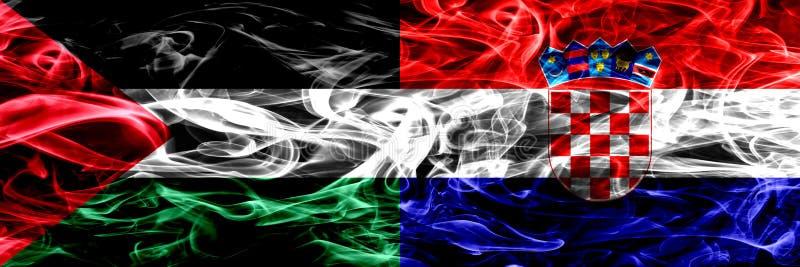 巴勒斯坦对克罗地亚,肩并肩被安置的克罗地亚烟旗子 巴勒斯坦人和克罗地亚,Croati的厚实的色的柔滑的烟旗子 皇族释放例证