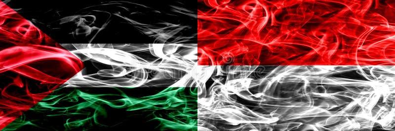 巴勒斯坦对印度尼西亚,肩并肩被安置的印度尼西亚烟旗子 巴勒斯坦人和印度尼西亚的厚实的色的柔滑的烟旗子, 向量例证