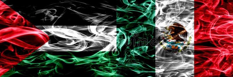 巴勒斯坦对墨西哥,肩并肩被安置的墨西哥烟旗子 巴勒斯坦人和墨西哥的厚实的色的柔滑的烟旗子,墨西哥 库存例证