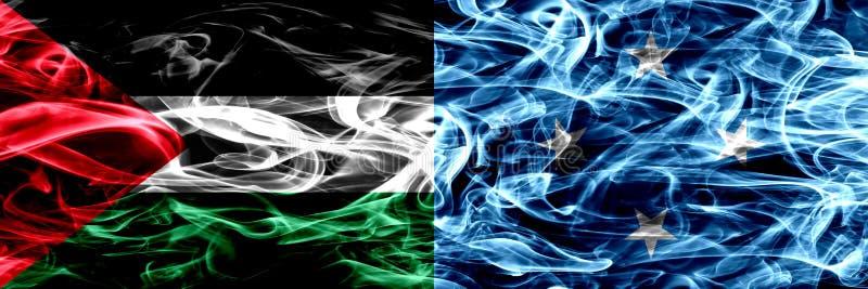 巴勒斯坦对密克罗尼西亚,肩并肩被安置的密克罗尼西亚烟旗子 巴勒斯坦人和Micronesi厚实的色的柔滑的烟旗子  库存例证