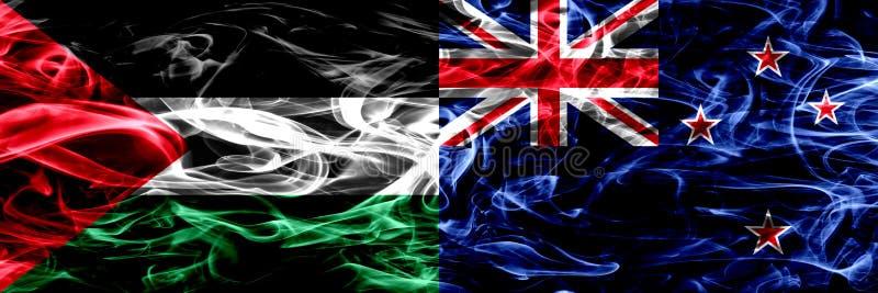 巴勒斯坦对新西兰,肩并肩被安置的新西兰的烟旗子 巴勒斯坦和新的Ze厚实的色的柔滑的烟旗子  皇族释放例证