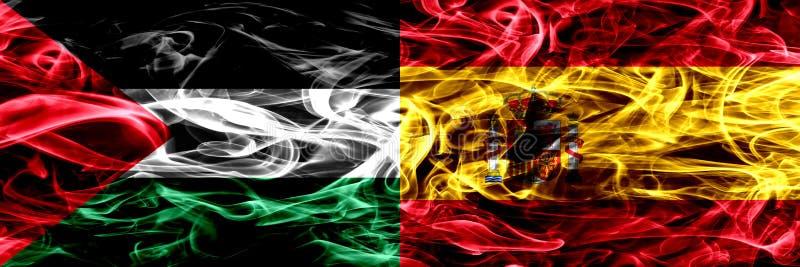 巴勒斯坦对西班牙,肩并肩被安置的西班牙烟旗子 巴勒斯坦人和西班牙,西班牙语的厚实的色的柔滑的烟旗子 向量例证