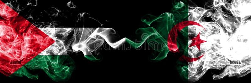 巴勒斯坦对阿尔及利亚,肩并肩被安置的阿尔及利亚的发烟性神秘的旗子 厚实色柔滑抽巴勒斯坦人和阿尔及利亚的旗子 向量例证