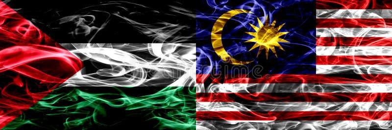 巴勒斯坦对马来西亚,肩并肩被安置的马来西亚烟旗子 巴勒斯坦人和马来西亚,Mal的厚实的色的柔滑的烟旗子 皇族释放例证