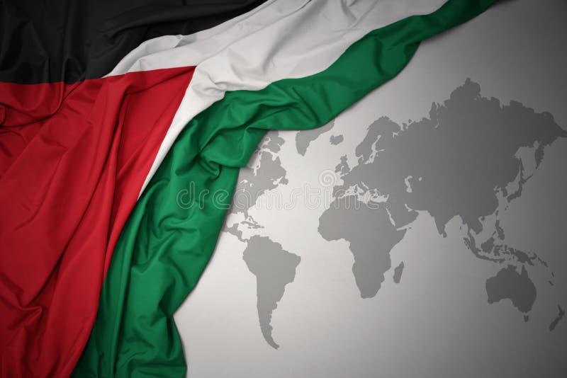 巴勒斯坦的挥动的五颜六色的国旗 免版税库存照片