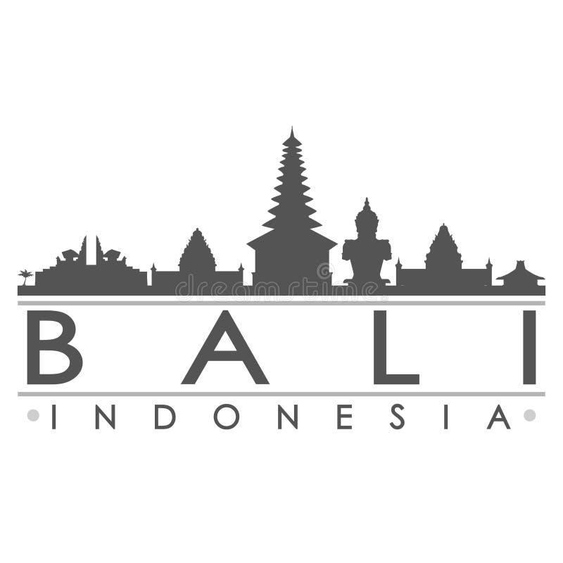 巴厘岛剪影设计城市传染媒介艺术 库存例证