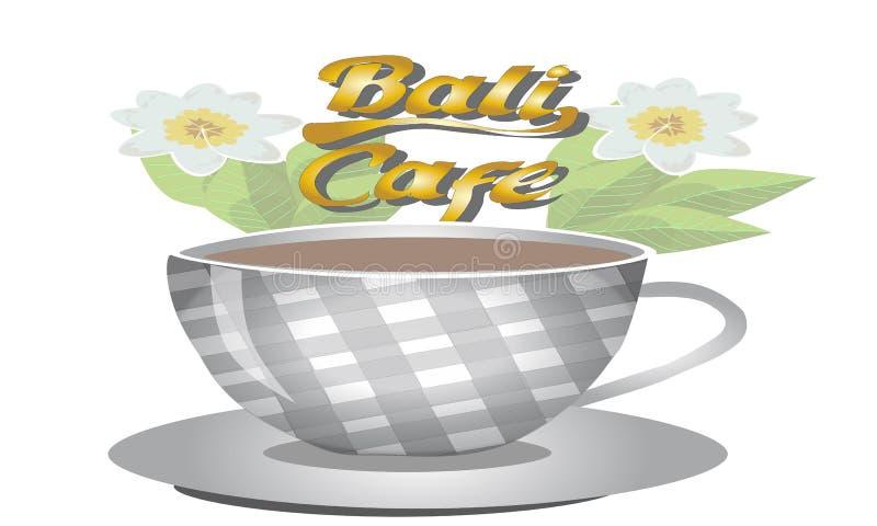 巴厘岛咖啡馆咖啡杯商标 皇族释放例证