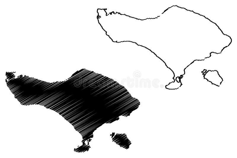 巴厘岛地图传染媒介 皇族释放例证