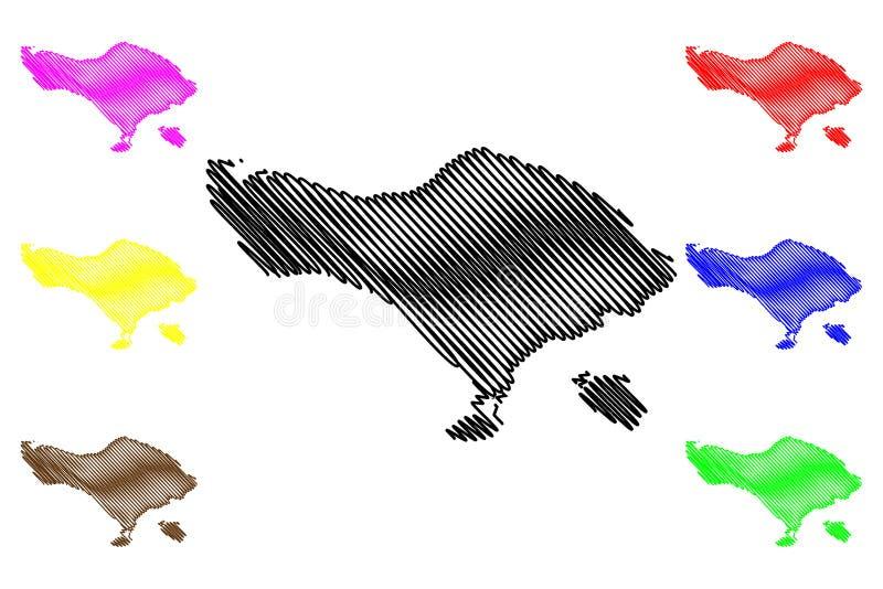 巴厘岛地图传染媒介 库存例证