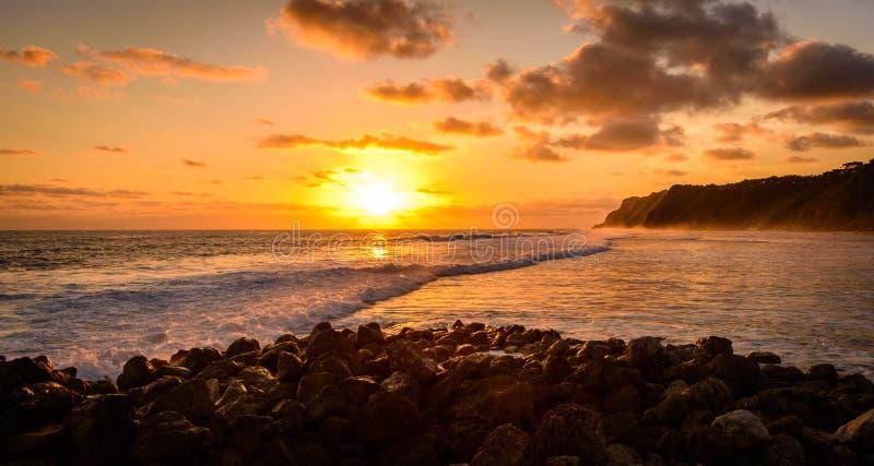 巴厘岛惊人的日落  免版税库存照片