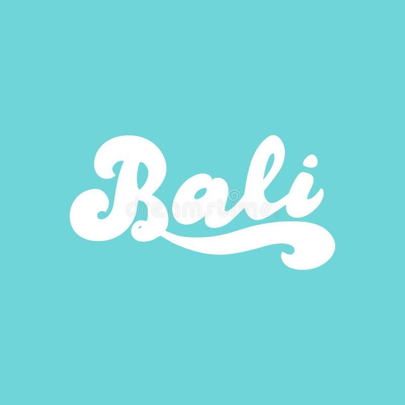 巴厘岛手写的商标 印度尼西亚旅行文本横幅 冲浪的巴厘岛,瑜伽,假日,旅行 库存例证
