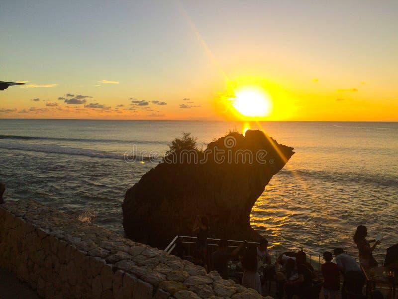 巴厘岛日落视图 免版税图库摄影