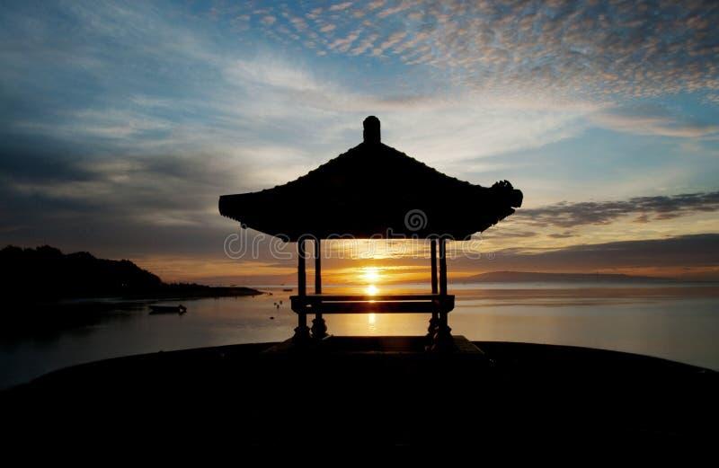 巴厘岛海滩sanur日出 免版税库存图片