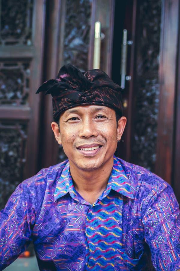 巴厘岛,印度尼西亚- 2017年10月23日:关闭巴厘语人画象  巴厘岛印度尼西亚 免版税库存图片