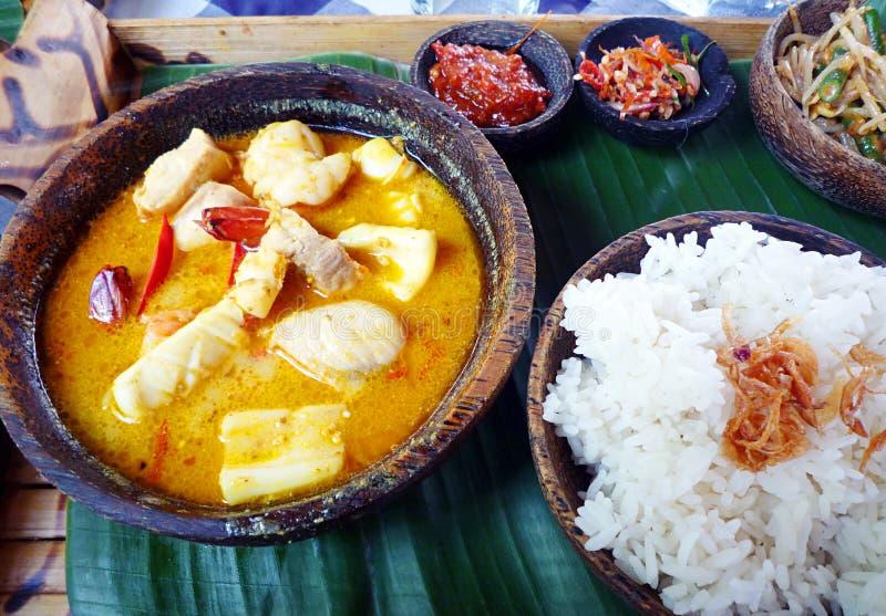巴厘语咖喱民族风味的食品海鲜 库存图片