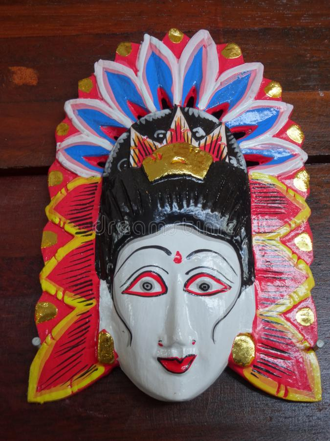 巴厘语被雕刻的木面具 免版税图库摄影