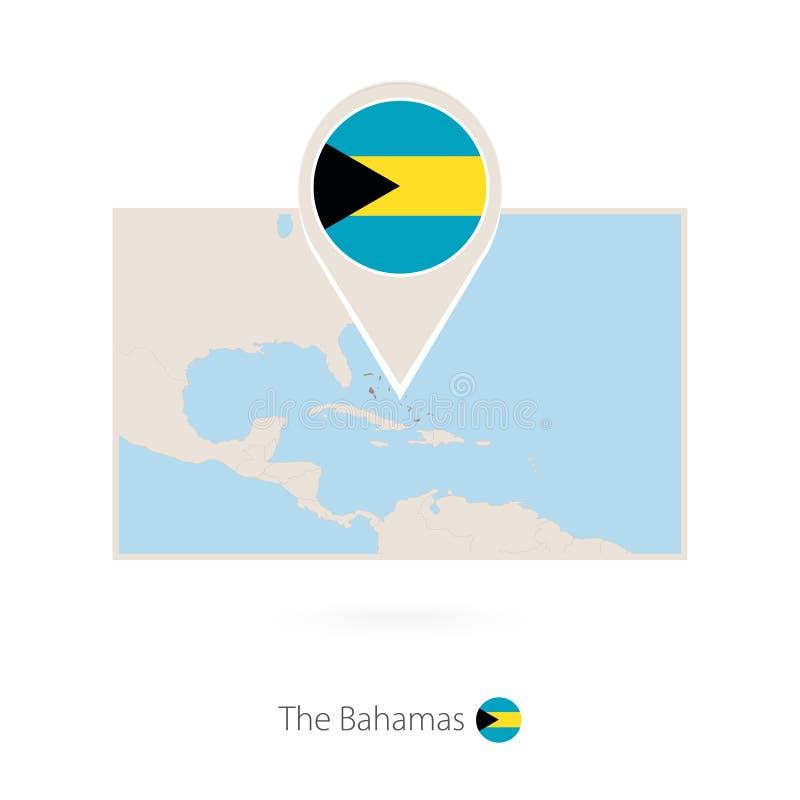 巴哈马长方形地图有巴哈马别针象的  皇族释放例证