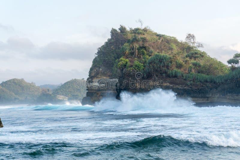 巴图Bengkung海滩玛琅印度尼西亚 免版税图库摄影
