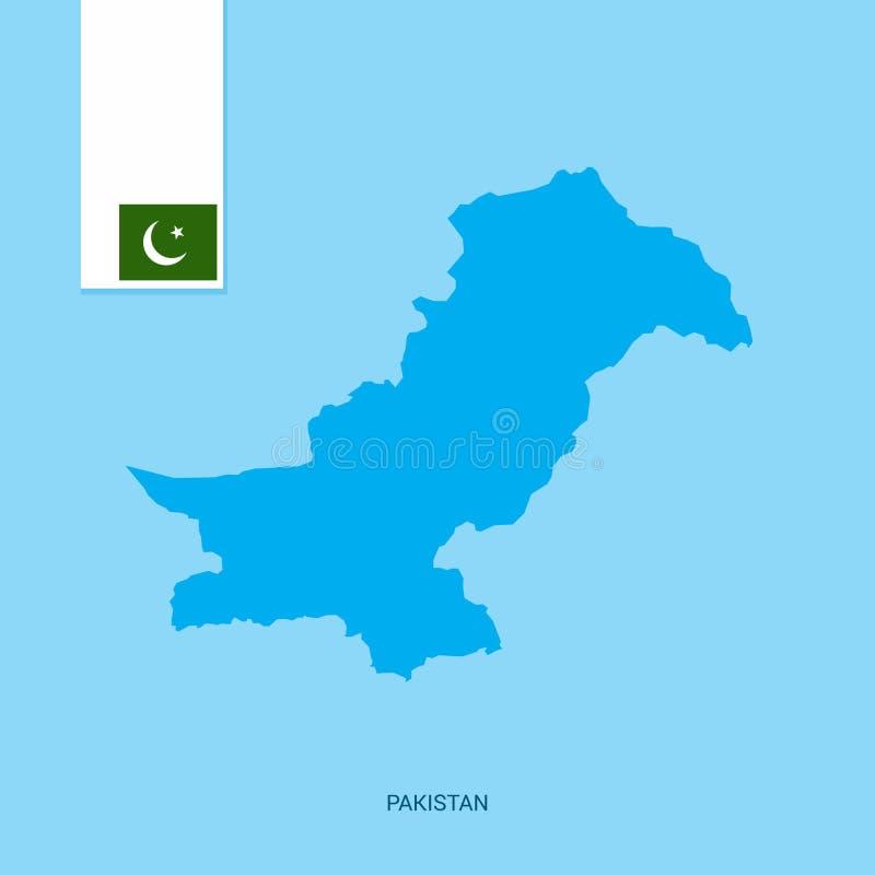 巴基斯坦与旗子的国家地图在蓝色背景 皇族释放例证
