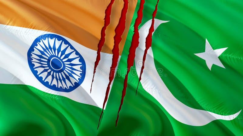 巴基斯坦和印度旗子 挥动的旗子设计,3D翻译 巴基斯坦印度旗子图片,墙纸图象 克什米尔印度人因藤 免版税库存图片