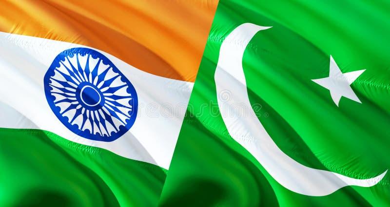 巴基斯坦和印度旗子 挥动的旗子设计,3D翻译 巴基斯坦印度旗子图片,墙纸图象 克什米尔印度人因藤 图库摄影
