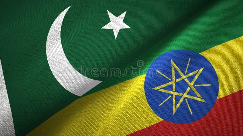 巴基斯坦和埃塞俄比亚两旗子纺织品布料,织品纹理 库存例证