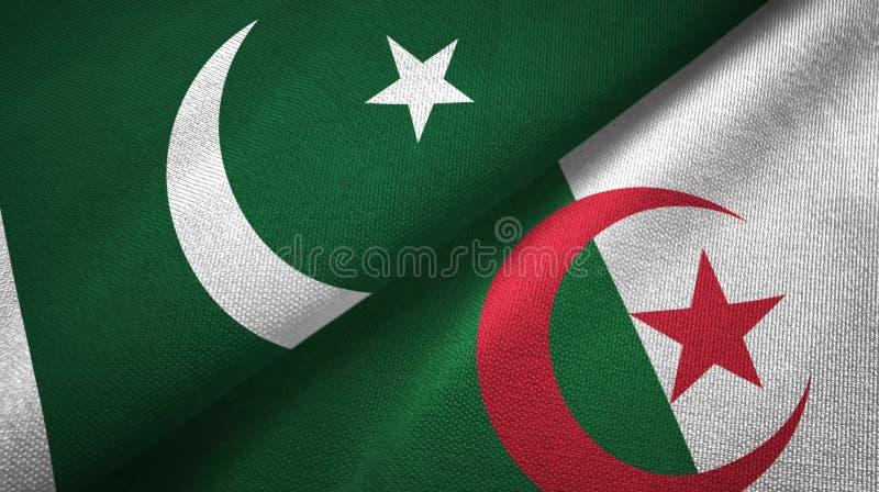巴基斯坦和阿尔及利亚两旗子纺织品布料,织品纹理 皇族释放例证