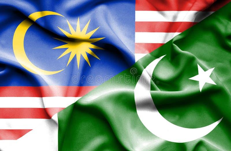 巴基斯坦和马来西亚的挥动的旗子 向量例证