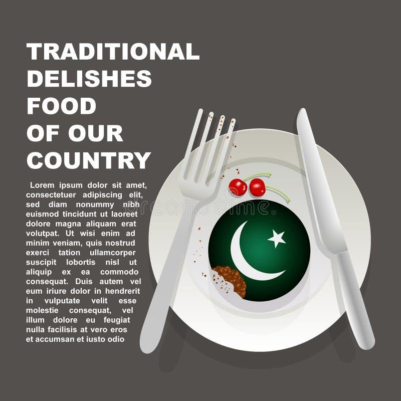 巴基斯坦国家海报传统可口食物  亚洲全国点心 传染媒介与Paki国旗的例证蛋糕  向量例证