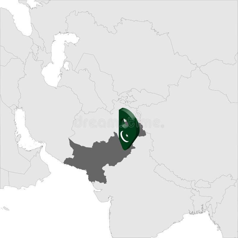 巴基斯坦在地图亚洲的定位图 3d巴基斯坦旗子地图标志地点别针 优质地图巴基斯坦伊斯兰共和国 ? 向量例证