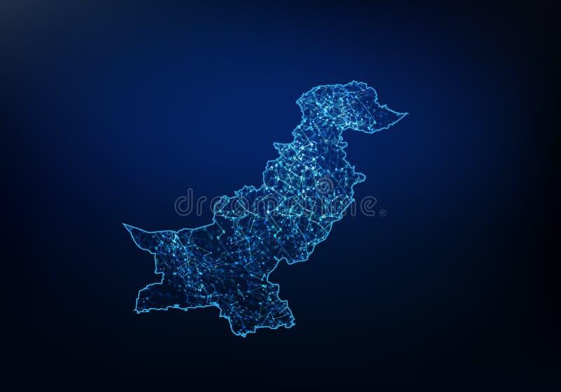 巴基斯坦地图网络、互联网和全球性连接概念,导线框架3D滤网多角形网络线,设计球形摘要  向量例证