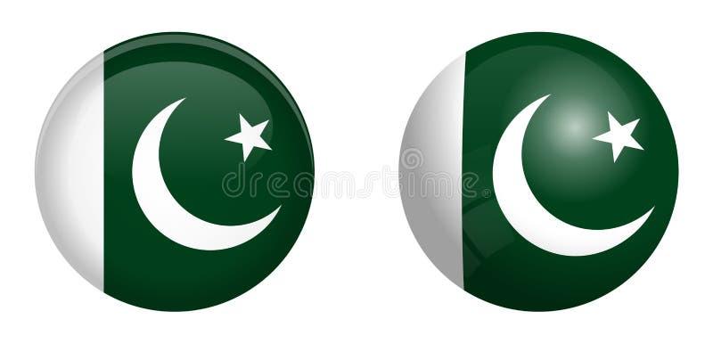巴基斯坦旗子在3d圆顶按钮下和在光滑的球形/球 库存例证