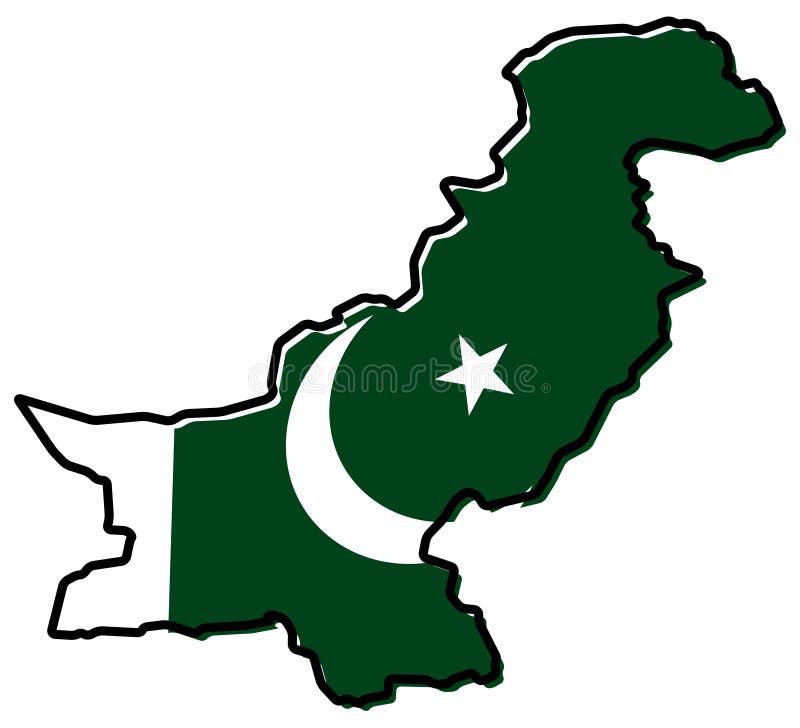 巴基斯坦概述被简化的地图,与有一点弯的旗子unde 库存例证
