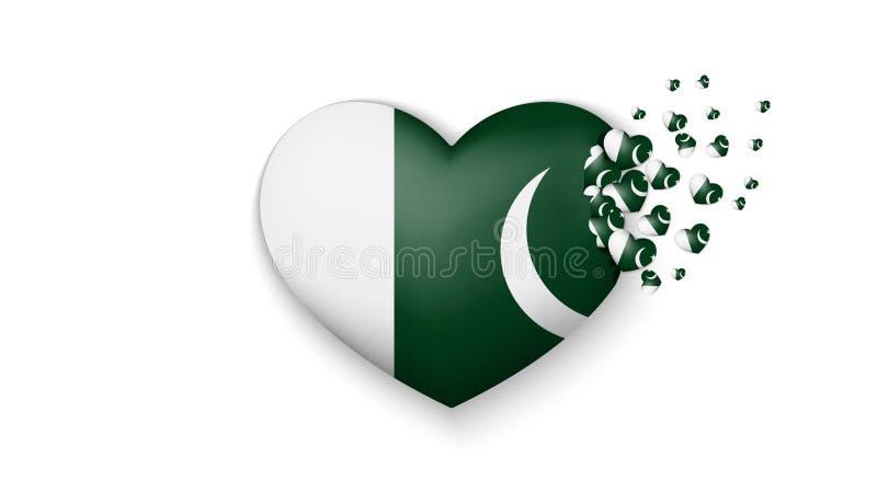 巴基斯坦的国旗心脏例证的 充满对巴基斯坦国家的爱 巴基斯坦的国旗飞行小心脏 库存例证