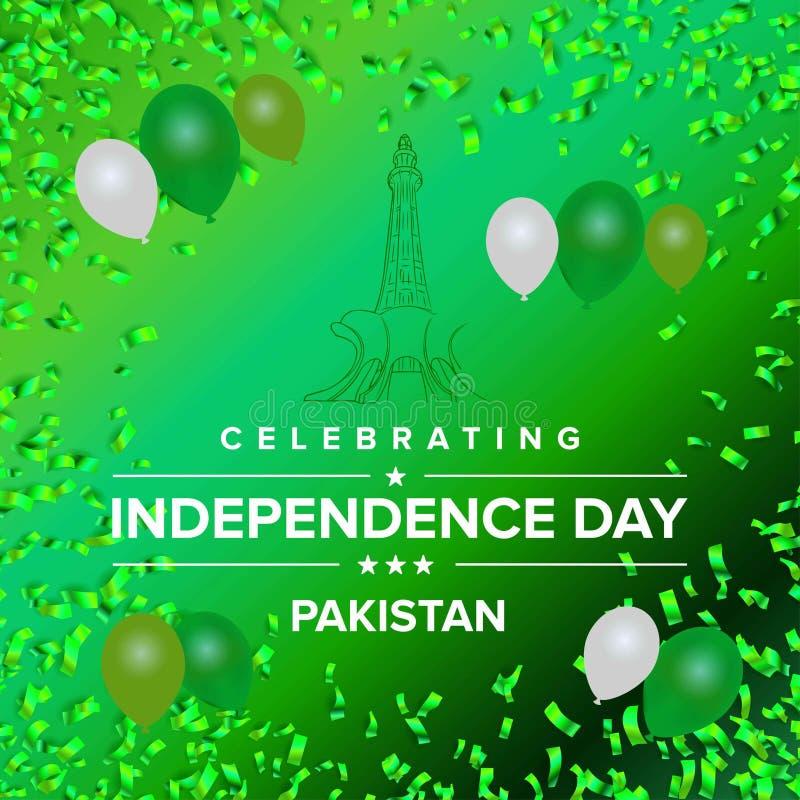 巴基斯坦的旗子为在绿色backgroun的美国独立日迅速增加 库存例证