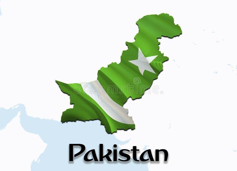巴基斯坦的旗子地图 回报巴基斯坦地图和旗子在亚洲地图的3D 巴基斯坦的国家标志 伊斯兰堡旗子地图 库存例证