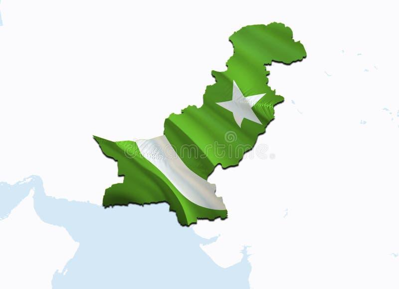 巴基斯坦的旗子地图 回报巴基斯坦地图和旗子在亚洲地图的3D 巴基斯坦的国家标志 在亚洲的伊斯兰堡旗子 向量例证