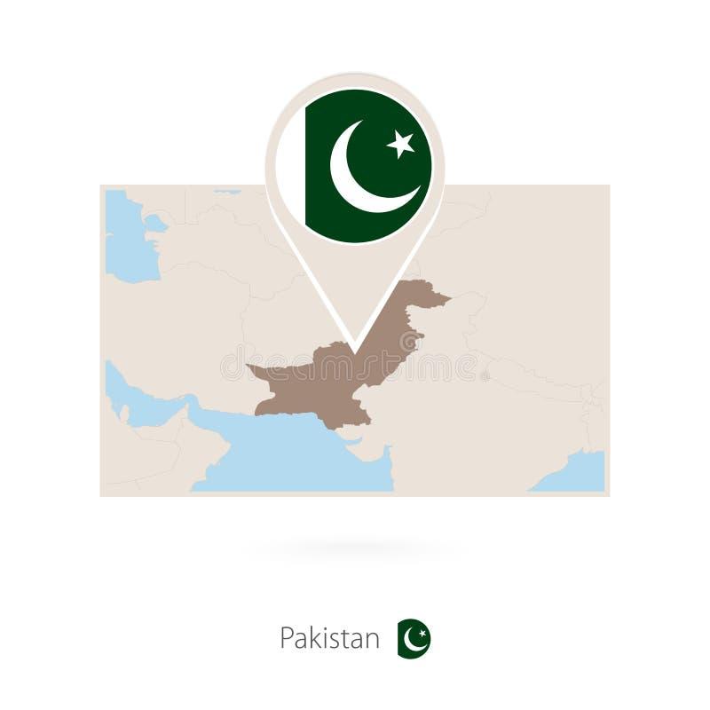 巴基斯坦的长方形地图有巴基斯坦的别针象的 库存例证
