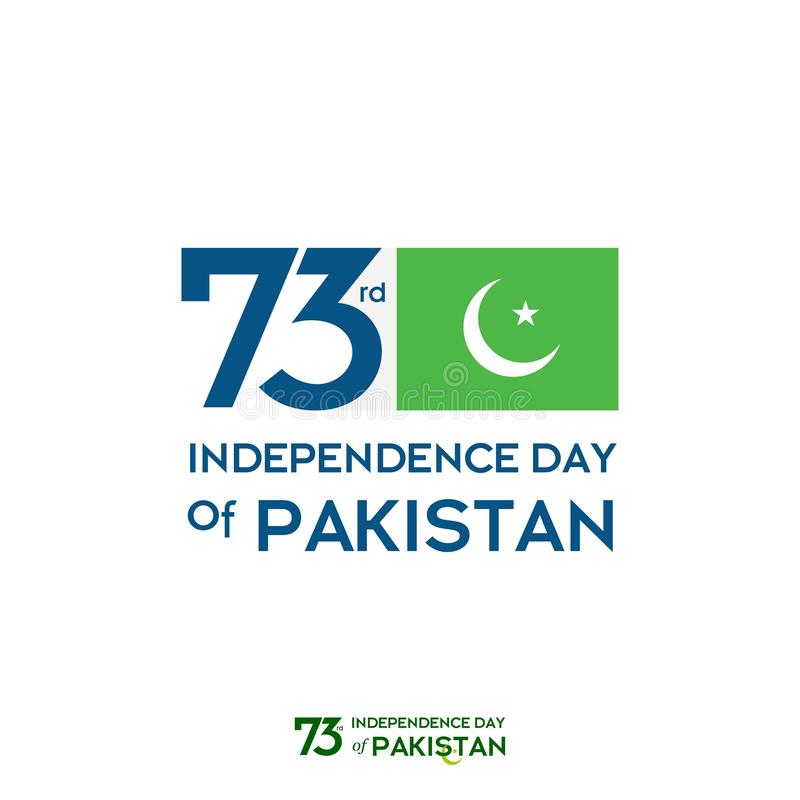 巴基斯坦美国独立日印刷术设计 巴基斯坦传染媒介模板设计第73愉快的美国独立日创造性的印刷术  皇族释放例证