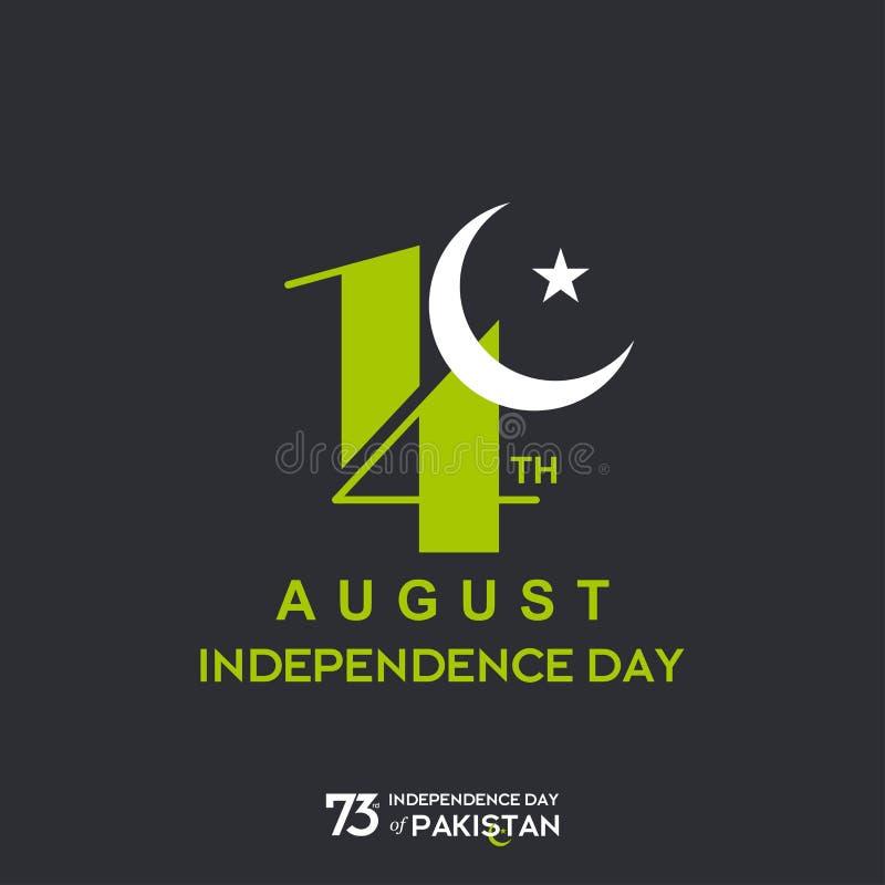 巴基斯坦美国独立日印刷术设计 巴基斯坦传染媒介模板设计第73愉快的美国独立日创造性的印刷术  库存例证