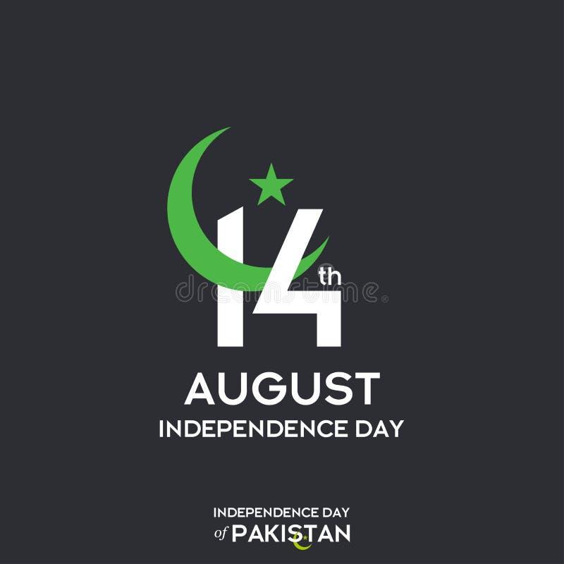 巴基斯坦美国独立日印刷术设计 巴基斯坦传染媒介模板设计第73愉快的美国独立日创造性的印刷术  向量例证