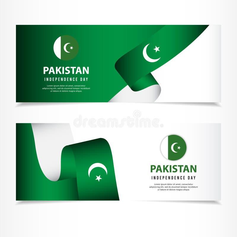 巴基斯坦美国独立日庆祝,横幅布景传染媒介模板例证 免版税图库摄影