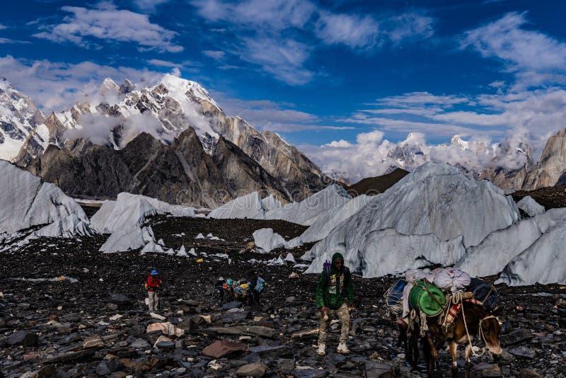 巴基斯坦迁徙的喀喇昆仑山脉K2 免版税图库摄影