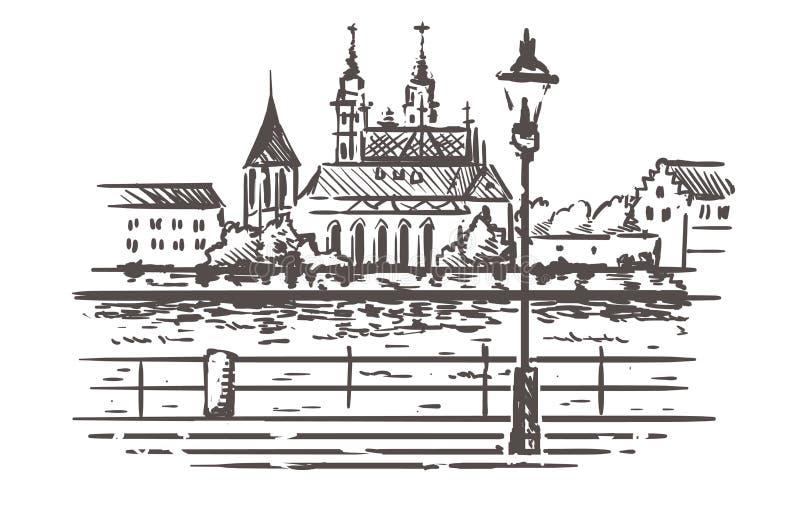 巴塞尔地平线剪影,由riverhand巴塞尔,瑞士的堤防拉长的例证 库存例证