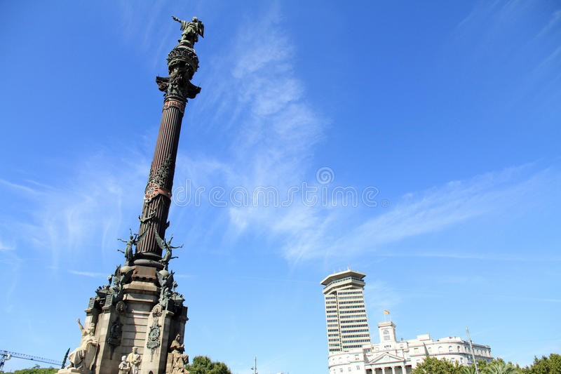 巴塞罗那・克里斯托弗哥伦布雕象 库存照片